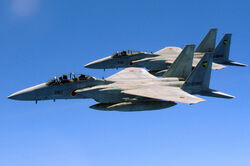 Two Japan Air Self Defense Force F-15 jets