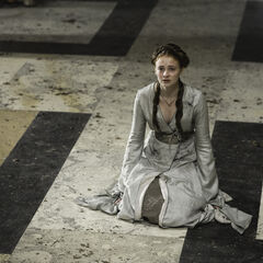 Promotional image of Sansa in the Great Hall of the Red Keep in