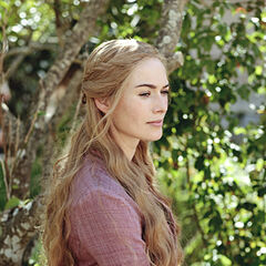 Cersei in the gardens of the Red Keep in