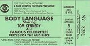 1983 ticket pilot for Body Language Game Show Pilot