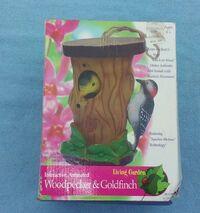 GEMMY INTERACTIVE ANIMATED WOODPECKER GOLDFINCH HANGING BIRDHOUSE MOTION SENSOR