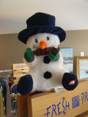 Animated Gemmy Snowman - Sings ''Jolly Holly Christmas'' Arms move, cheeks light