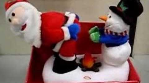 Fire-warming Santa and Snowman