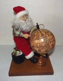 GEMMY North Pole Productions 1995 Animated Santa At His Globe