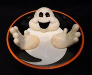 GEMMY GHOST CANDY DISH MOTION ACTIVATED WITH WIGGLING FINGERS & HALLOWEEN PHRASES