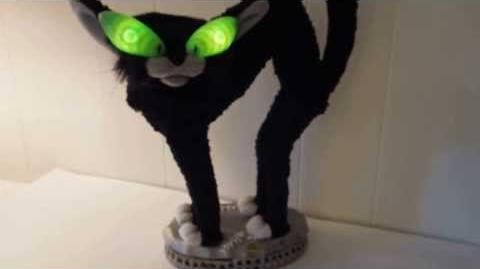 Halloween Gemmy Sings Stray Cat Strut Black Cat Animated Prop Fraidy Cat
