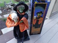 Electric Animated Witch w Skull Gemmy Talks Skull Skull In My Hand Halloween