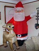 CHRISTMAS Airblown Inflatable ''SANTA & RUDOLPH'' Yard Decor HUGE 8 FT TALL!! 2