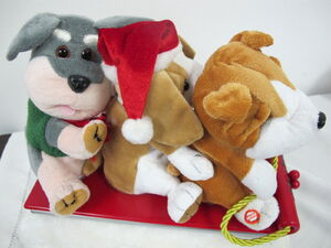 GEMMY ANIMATED DOGS CHRISTMAS SLED DOG TRIO SLEIGH RIDE SINGING DANCING