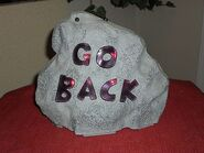 GEMMY HALLOWEEN LIGHTED LAUGHING ''GO BACK'' SPOOKY ROCK YARD DECORATION