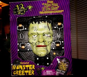 GEMMY ANIMATED MONSTER GREETER ''Sings who can it be Now'' HALLOWEEN PROP