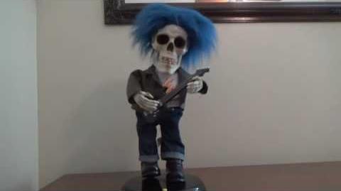 "Gemmy Animated ""Rockin' Blue Haired Guitar Skeleton"" (RARE)"