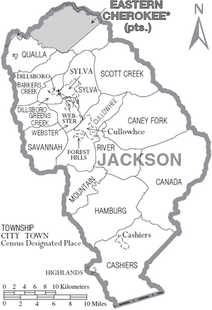 Map of Jackson County North Carolina With Municipal and Township Labels