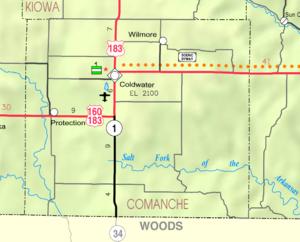 Map of Comanche Co, Ks, USA