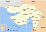 Map Gujarat state and districts