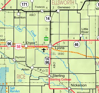 Map of Rice Co, Ks, USA
