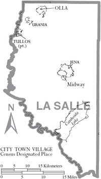 Map of La Salle Parish Louisiana With Municipal Labels