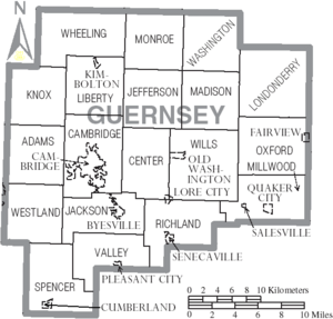 Map of Guernsey County Ohio With Municipal and Township Labels