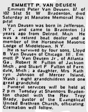 VanDeusen-Emmett 1965 obituary