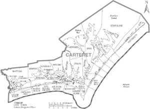 Map of Carteret County North Carolina With Municipal and Township Labels