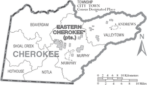 Map of Cherokee County North Carolina With Municipal and Township Labels