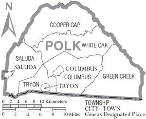 Map of Polk County North Carolina With Municipal and Township Labels
