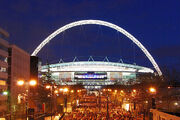 Wembley Stadium, illuminated