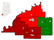800px-Gibson County Indiana Incorporated and school areas all three school Districts highlighted in their HS colors