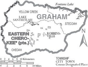 Map of Graham County North Carolina With Municipal and Township Labels