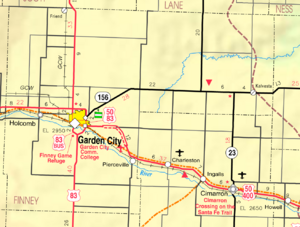 Map of Finney Co, Ks, USA