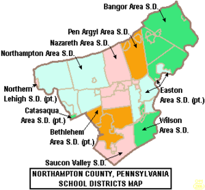 Map of Northampton County Pennsylvania School Districts