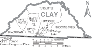 Map of Clay County North Carolina With Municipal and Township Labels