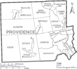 Map of Providence County Rhode Island With Municipal Labels