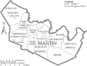Map of Martin County North Carolina With Municipal and Township Labels