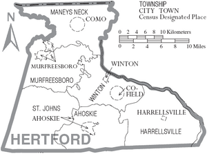 Map of Hertford County North Carolina With Municipal and Township Labels