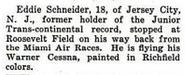 Eddie August Schneider (1911-1940) in Popular Aviation in April 1931