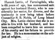 Hannah and Henry K. Lattin (1806-1894) in the Queens County Sentinel on August 1, 1878