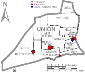 Map of Union County Pennsylvania With Municipal and Township Labels