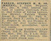 Parker-Stephen 1961 funeral