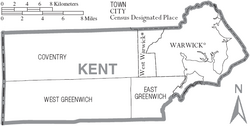 Map of Kent County Rhode Island With Municipal Labels