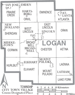 Map of Logan County Illinois With Municipal and Township Labels