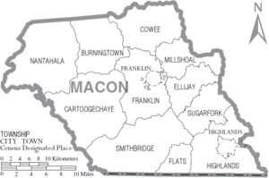 Map of Macon County North Carolina With Municipal and Township Labels
