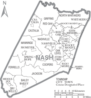 Map of Nash County North Carolina With Municipal and Township Labels