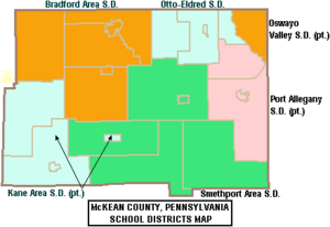 Map of McKean County Pennsylvania School Districts