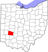 Map of Ohio highlighting Greene County