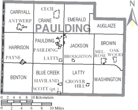 Map of Paulding County Ohio With Municipal and Township Labels