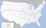 Transcontinental railroad route