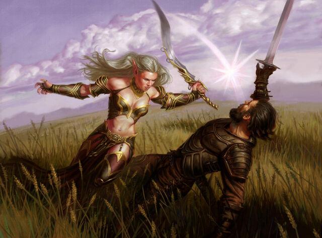 File:900x667 2478 Virtue of Will 2d fantasy warriors girl female woman battle elf picture image digital art.jpg