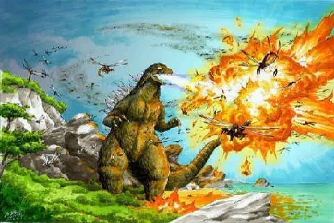 File:Behind Godzilla vs Megaguirus 2 Concept art Godzilla kills Meganula.jpg