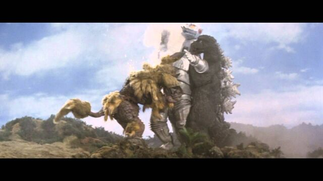 File:Two Monsters battling MechaGodzilla.jpg